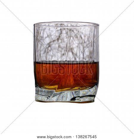 Whiskey or brandy glass on white background