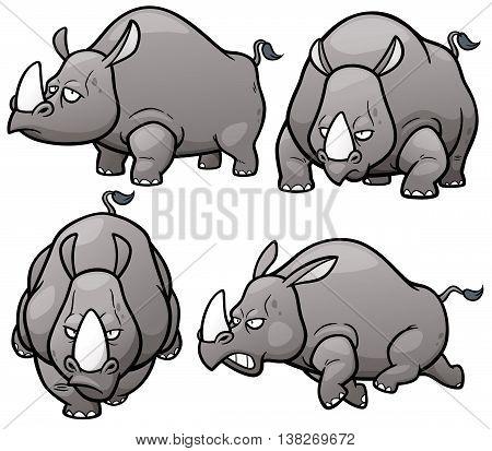 Vector illustration of Cartoon Rhinos Character Set