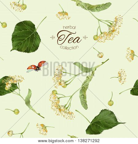 Vector tea seamless pattern with linden flowers. Background design for tea, aromatherapy, herbal cosmetics essential oils,health care products. Best for fabric ,textile ,wrapping paper.