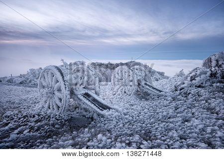 Guns and ice on Shipka peak (Blakan mountain)