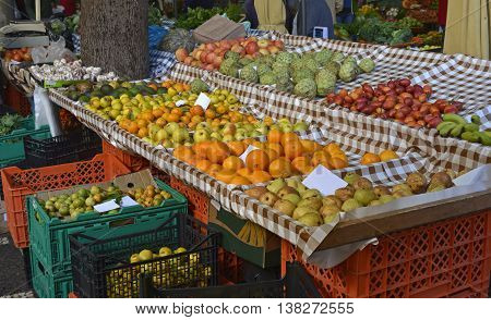 Fruits on market stall in indoor market at Funchal Madeira Portugal