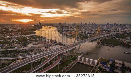 aerial view of bhumiphol bridge crossing chaopraya river important landmark and land transportation in bangkok thailand