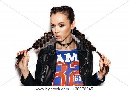 Woman With Healthy Long Brown Hair