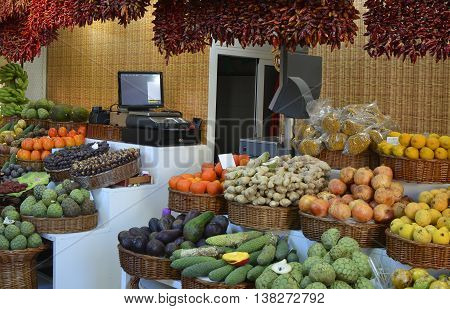 Fruits and vegetables on market stall in indoor market at Funchal Madeira Portugal