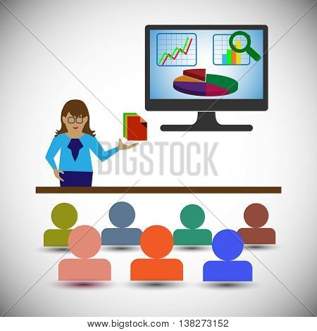 Business Analyst/woman Presenting the Reportscharts and graphs and showing the data analytics also represents business people Looking the presentation of the financial report & Data analysis Graph.