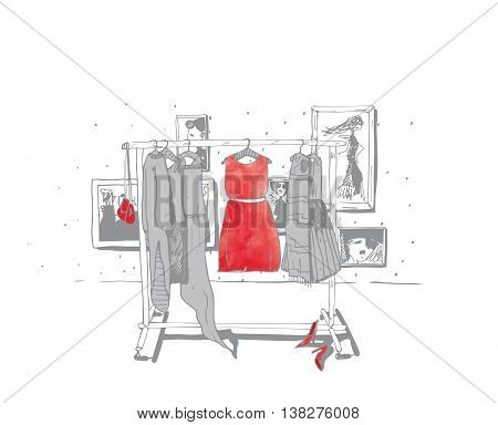 Black and white fashion illustration with hand drawn hangers with dresses. Interior with frames shoes. Vector sketch illustration isolated on white with red accent on central dress.