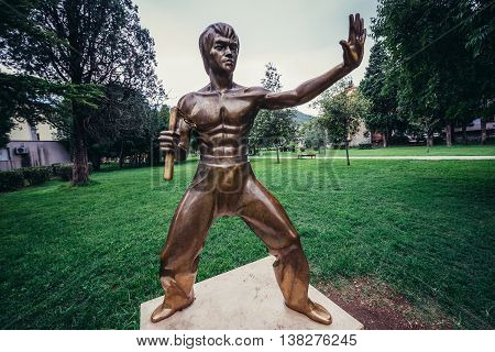 Mostar Bosnia and Herzegovina - August 25 2015. Bruce Lee statue in Mostar city park