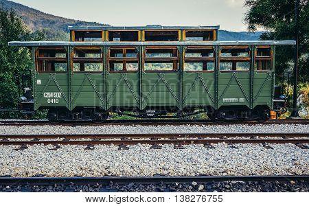 Mokra Gora Serbia - August 28 2015. Old railway carriage on Mokra Gora station in Serbia