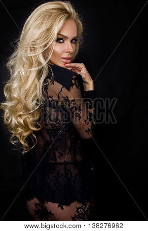 Very Beautiful Young Blond Sexy Female Model In Erotic Lingerie Lace Blouse In A Cute Makeup And Sen