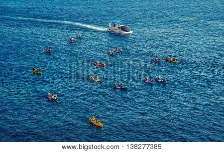 Dubrovnik Croatia - August 26 2015. Tourists paddles kayaks in Dubrovnik