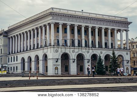 Kiev Ukraine - July 26 2015. View of Petro Tchaikovsky National Music Academy located at Independence Square