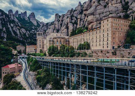 Montserrat Spain - May 25 2015. Aerial view on Santa Maria de Montserrat Abbey in Montserrat mountains