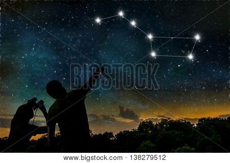 Ursa major constellation. People are observing night sky. poster