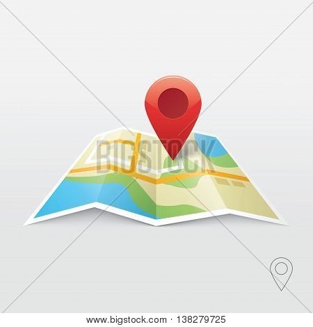 Red road map pin pointer with roadmap vector icon design. Pin pointer roadmap. Location pin illustration isolated. GPS navigation locator, new roadmap pin