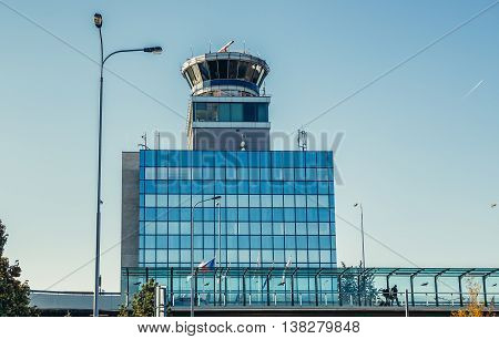 Prague Czech Republic - October 2 2015. Control Tower building of Vaclav Havel Airport Prague