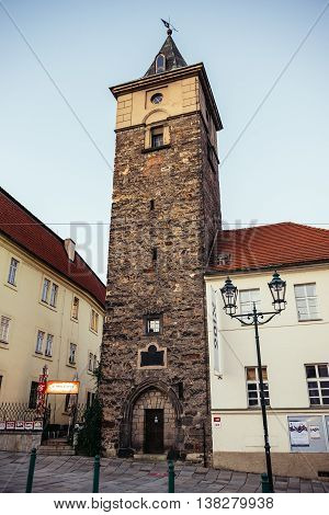 Pilsen Czech Republic - October 2 2015. Old Water Tower called of Pilsen (Plzen) city