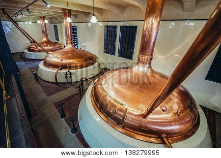 Pilsen Czech Republic - October 3 2015. Copper brewing tanks in old brewhouse part of of Pilsner Urquell Brewery
