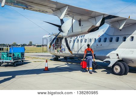 Prague Czech Republic - October 4 2015. ATR 72-500 of Czech Airlines at Vaclav Havel Airport in Prague