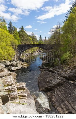Invermoriston bridge Scotland UK Scottish tourist destination crosses the spectacular River Moriston falls