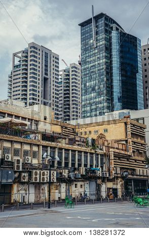 Tel Aviv Israel - October 19 2015. Old and modern buildins seen from Givon Square in Tel Aviv