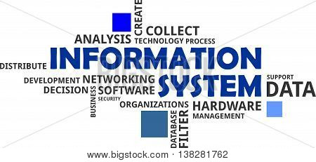A word cloud of information system related items