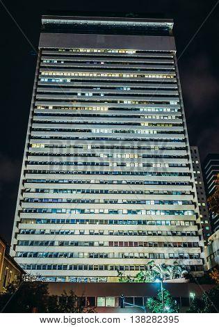 Tel Aviv Israel - October 19 2015. Night view of Shalom Meir Tower building built on the site of former Herzliya Gymnasium in Tel Aviv
