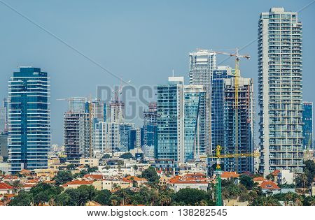Tel Aviv Israel - October 20 2015. Aerial view from Abrasha park with many office buildings and residential skyscrapers in Tel Aviv