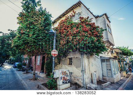 Tel Aviv Israel - October 20 2015. Detached house in historic Neve Tzedek district (lit. Abode of Justice) of Tel Aviv
