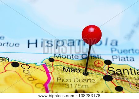 Mao pinned on a map of Dominican Republic
