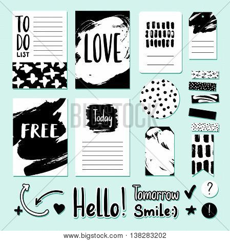 Modern vector card tag and sticker set for planner journaling scrapbooking congratulations invitations. Abstract ink dry brush illustrations with strokes and textures. Freehand lettering.