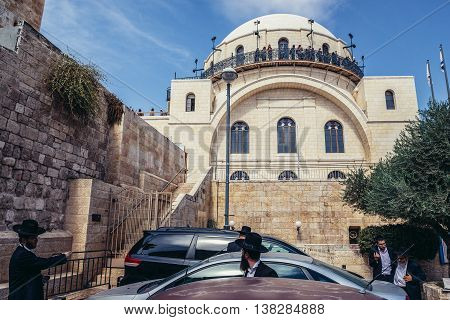 Jerusalem Israel - October 22 2015. Orthodox Jews in front of The Ruin Synagogue (Hurva Synagogue) located in the Jewish Quarter