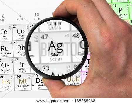 Silver Symbol - Ag. Element Of The Periodic Table Zoomed With Ma