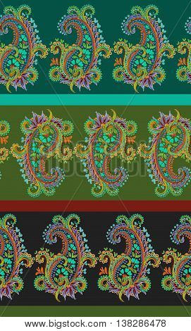 seamless paisley pattern in green and earth colors. delicate ornamental hand drawn artistic paisleys, lace look.