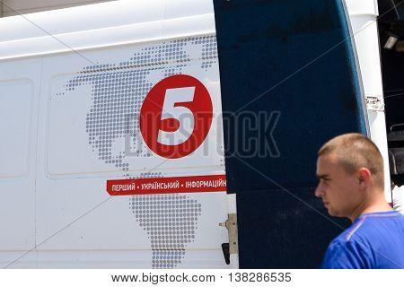 Odesa, Ukraine - July 03, 2016: Cannel 5 news van. Celebration of Ukrainian NAVY forces day