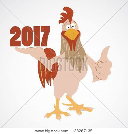 Cartoon funny rooster showing thump up and 2017 year