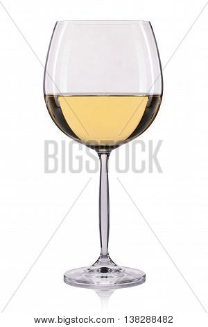 White wine in a glass isolated on white background.