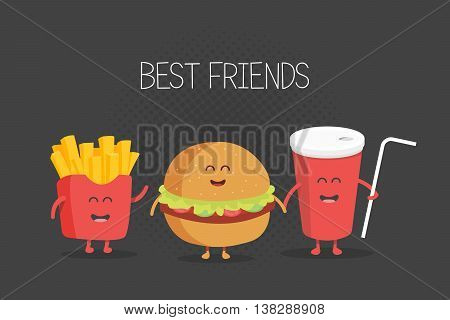 Cute fast food burger, soda, french fries. Vector cartoon. Friends forever