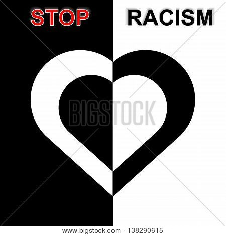 Stop Racism In Black And White Idea. Vector Illustration. Eps10
