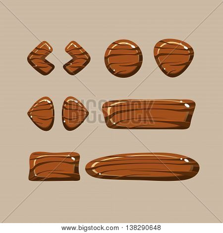 Set of cartoon wooden buttons with different shapes, gui elements poster