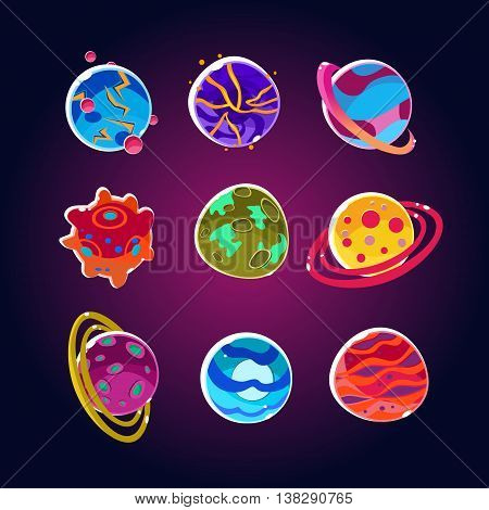 Comic Planets And Space Asteroids Set. Illustration of a set of various comic planets, moons, asteroid and alien earth globes