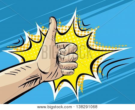 Like, Well, Fine, Hitchhiking journey Gesture. Pop art Comic retro style Vector Illustration. Imitation of old Comic Book art. Superhero hand on blue background
