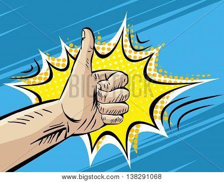 Like, Well, Fine, Hitchhiking journey Gesture. Pop art Comic retro style Vector Illustration. Imitation of old Comic Book art. Superhero hand on blue background