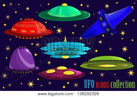 Flying Saucer, Spaceship And Ufo Set. Illustration Of A Set Of Cartoon Funny Ufo, Unidentified Space
