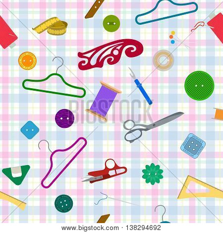 Sewing Items Pattern on the Light Checkered Background .Seamless fashion background. Sewing accessories backdrop for hand made hobby. Vector illustration flat design