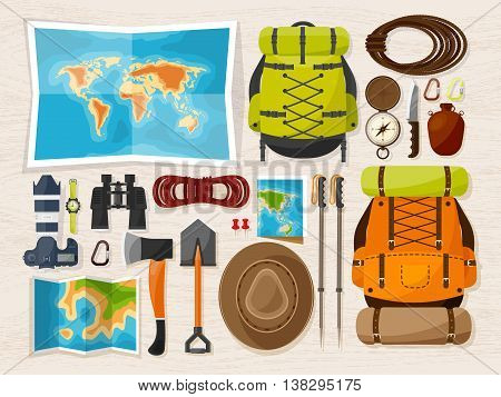 Travel and tourism. Flat style. World, earth map. Globe. Trip, tour, journey, summer holidays. Travelling, exploring worldwide Adventureexpedition Table workplace Traveler Navigation or route planning