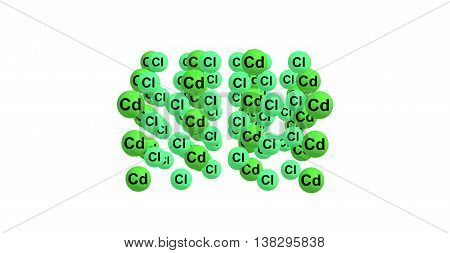 Cadmium chloride is a white crystalline compound of cadmium and chlorine with the formula CdCl2. It is a hygroscopic solid that is highly soluble in water and slightly soluble in alcohol. 3d illustration