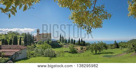 Pictorial Landscape Above Garda Lake, Sasso Church On The Hill