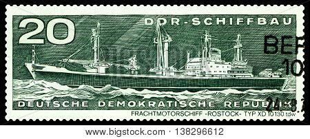 STAVROPOL RUSSIA - JULY 06 2016: a stamp printed by Germany shows Freighter ROSTOCK type XD 10 130 tdw circa 1971