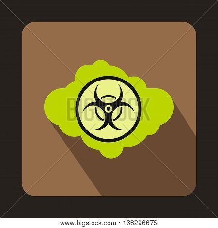Green cloud with biohazard symbol icon in flat style on a coffee background