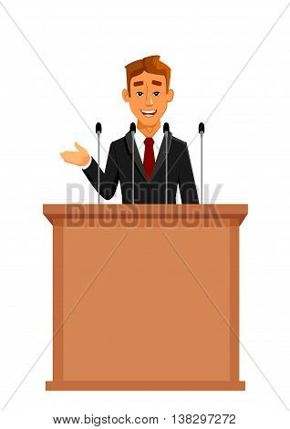 Cartoon businessman or politician in suit at tribune with microphones making a speech. Orator or narrator, spokesman or leader at debates or presentation for audience. Business meeting or conference theme